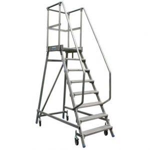 STABILO: лестница-платформа с алюминиевыми ступеньками и поручнями