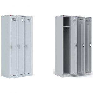 шкафы для раздевалок ШРМ на три секции