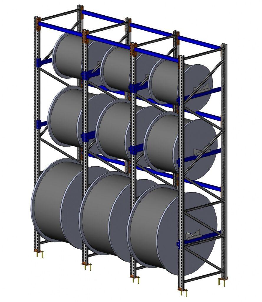 Система стеллажей для кабельных барабанов