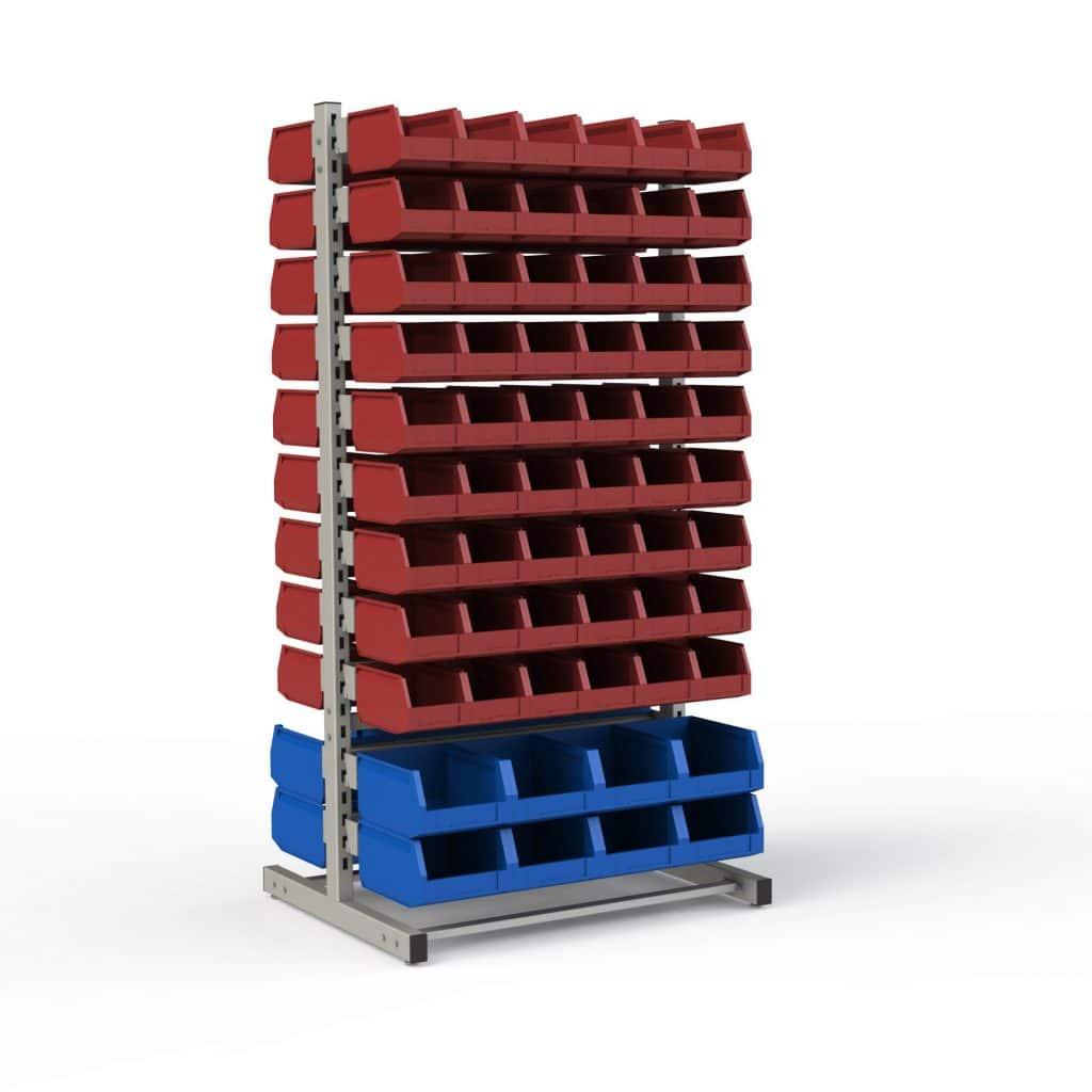 Стойка модульная с кронштейнами двухсторонняя для установки различного количества лотков (2400х950х708 мм)